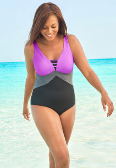 Colorblock V-Neck One Piece,
