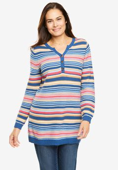 Seed Stitch Henley Pullover,