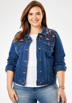 Cropped Stretch Denim Jacket, DENIM EMBROIDERY, hi-res