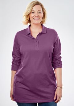 Perfect Long Sleeve Polo Tunic, PLUM PURPLE