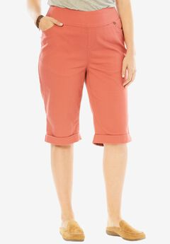 Smooth Waist Bermuda Jean Short, STRAWBERRY ROSE