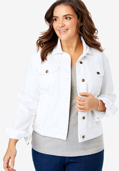 Stretch Denim Jacket, WHITE
