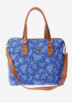 Denim weekender bag, BLUE DENIM PAISLEY, hi-res