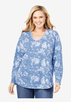 Long Sleeve V-Neck Thermal Tee, HORIZON BLUE TIE DYE