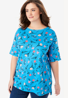 Perfect Printed Boatneck Tunic, BLUE SPLASH SIMPLE FLORAL