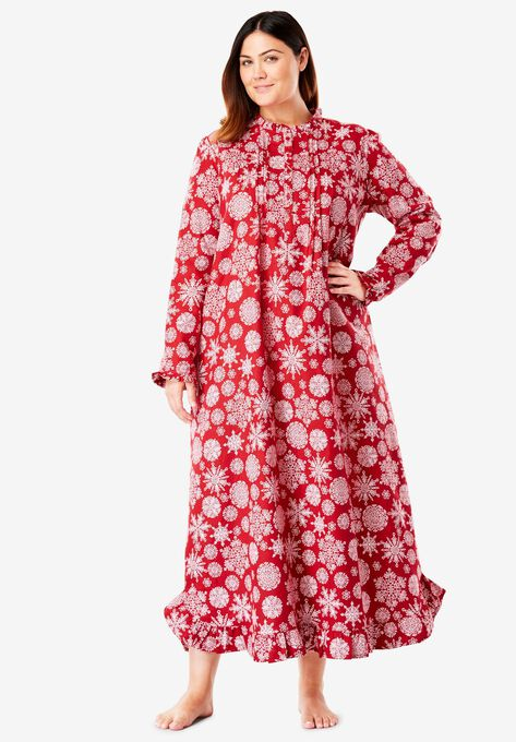 Long Flannel Nightgown by Only Necessities® | Plus Size Sleep Gowns ...