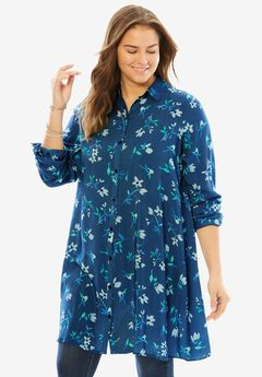 Floral Maxi Button Down Tunic, ROYAL NAVY DELICATE FLOWER, hi-res