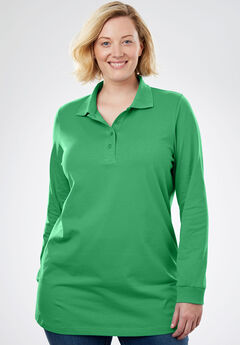 Perfect Long Sleeve Polo Tunic, VIBRANT CLOVER