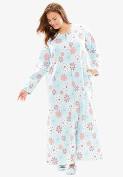 Fleece Robe with Free Slippers by Dreams & Co.®, PRETTY BLUE SNOWFLAKES, hi-res