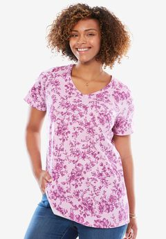 Perfect Printed V-Neck Tee, ORCHID PINK CHERRY BLOSSOM, hi-res