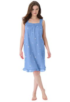 Short Embroidered Nightgown by Dreams & Co.®, FRENCH BLUE, hi-res