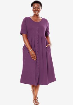 Empire knit dress by Only Necessities®, PLUM PURPLE