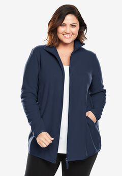 Zip-Front Microfleece Jacket, NAVY