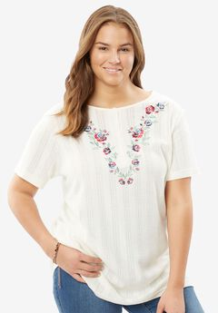 7-Day Knits Embroidered Pointelle Tunic by Only Necessities®, IVORY ROSE BOUQUET, hi-res