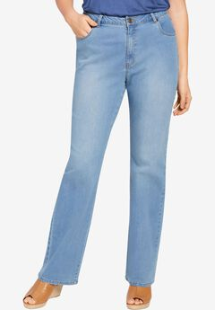Wide Leg Stretch Jean, LIGHT STONEWASH SANDED