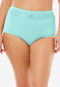 Comfort Choice® Lace-trim Microfiber Brief, FRESH AQUA, hi-res