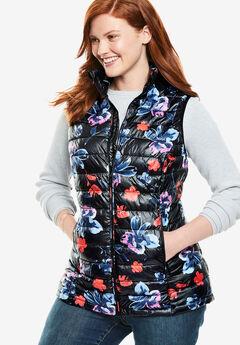 Packable Puffer Vest, BLACK WATERCOLOR FLORAL