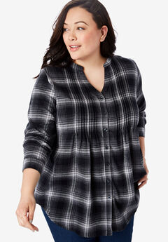 Pintucked Flannel Shirt, BLACK PLAID