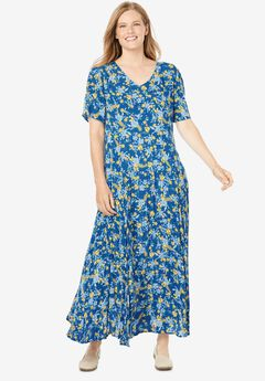 Crinkle Dress, OCEAN SAPPHIRE SPRINKLED FLORAL