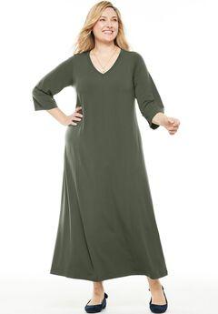 Maxi T-Shirt Dress with Princess Seams, SAGE GRASS