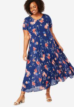 Short sleeve crinkle dress, , hi-res