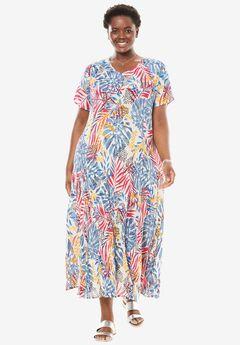 Short sleeve crinkle dress, PEBBLE TROPICAL COLLAGE, hi-res