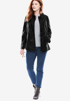 Button-front leather jacket, BLACK, hi-res