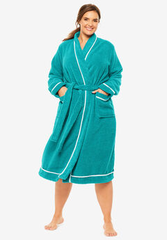 Spa Terry Short Wrap Robe by Dreams & Co.®, WATERFALL