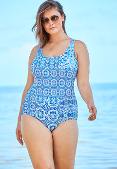 One-Piece Tank Swimsuit with Adjustable Straps, ROYAL BLUE PATCHWORK