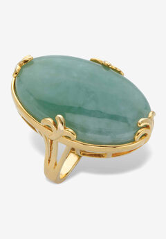Yellow Gold Plated Genuine Green Jade Oval Cabochon Ring,