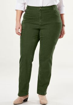 Straight Leg Stretch Jean, FOREST GREEN