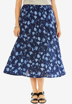 Soft A-Line Skirt, FALLING FLOWER, hi-res