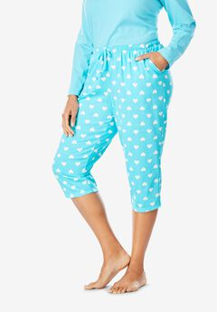 Knit Sleep Capri by Dreams & Co.®, CARIBBEAN BLUE HEARTS