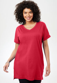 Longer Length Cuffed V-Neck Tee,