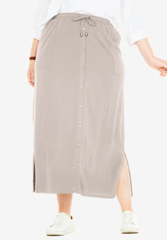 Button-Front Utility Maxi Skirt,