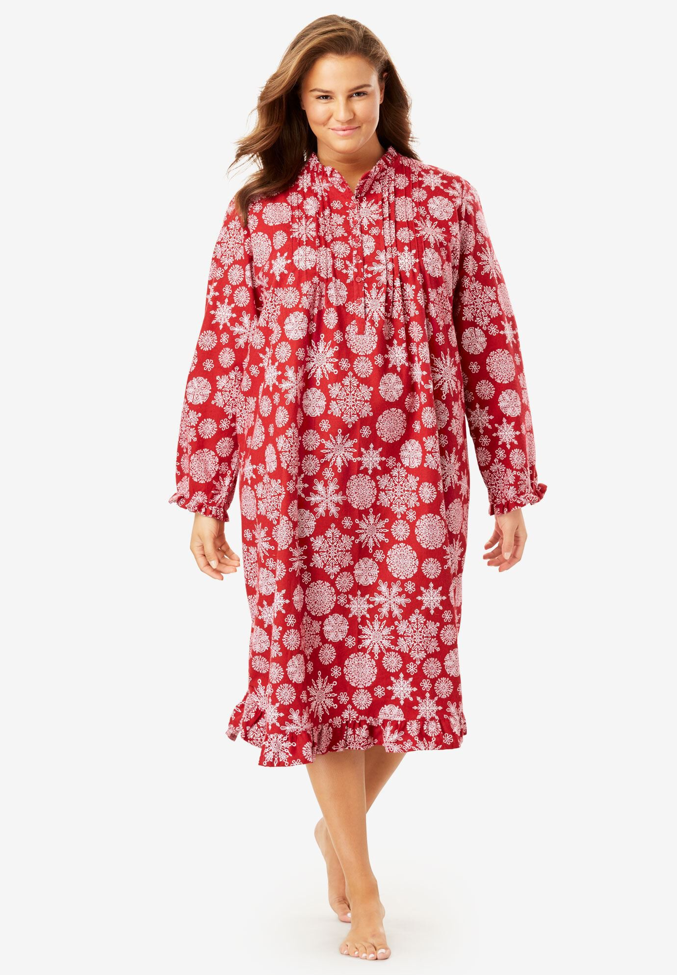 Only Necessities Womens Plus Size Cotton Flannel Print Short Gown