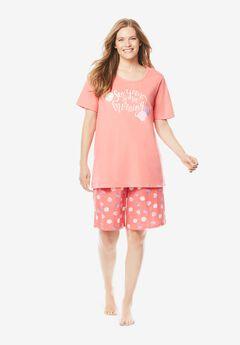 Knit PJ Short Set by Dreams & Co.®, SWEET CORAL SHELLS