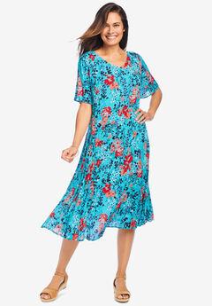 Short Crinkle Dress, AQUAMARINE FLORAL BLOOM