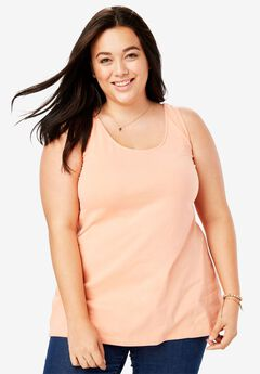Modern stretch scoop neck tank,