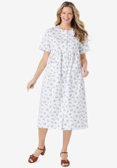 Short-Sleeve Denim Dress, WHITE FLORAL