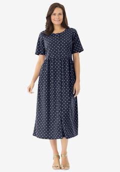 Button-Front Essential Dress, NAVY POLKA DOT