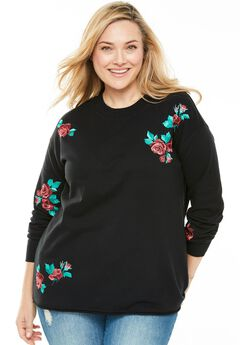 Embroidered Crewneck Sweatshirt, BLACK EMBROIDERY