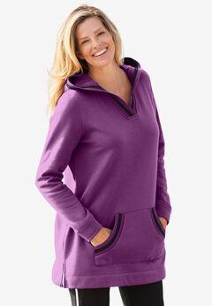 Hooded Fleece V-Neck Tunic, PLUM PURPLE