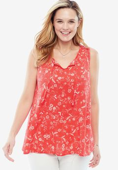 Gauze tank, CORAL RED FLORAL SCROLL, hi-res
