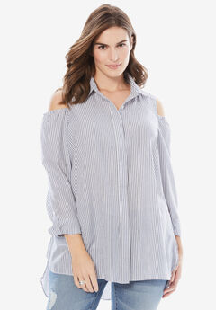 Button-Front Cold-Shoulder Shirt by Chelsea Studio®,