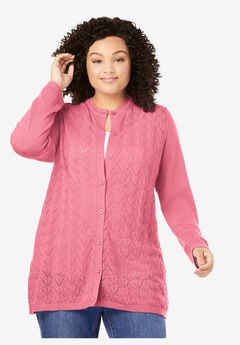 Long-Sleeve Button-Front Pointelle Cardigan,