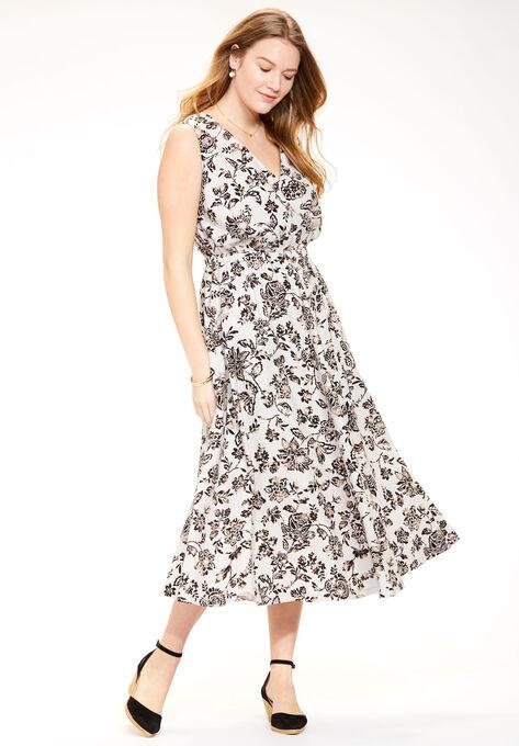 Wrap front linen dress