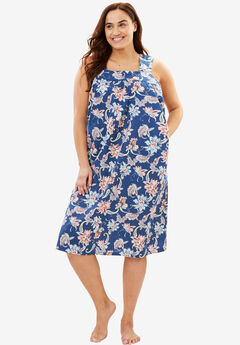 Print Sleeveless Lounger by Dreams & Co.®, ROYAL NAVY FLORAL
