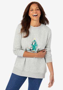 Fleece Holiday Sweatshirt, HEATHER GREY PENGUINS