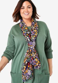 Lightweight Printed Scarf, BLACK MIXED FLORAL